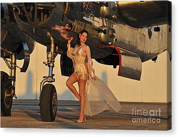 Beautiful 1940s Pin-up Girl Standing Canvas Print by Christian Kieffer