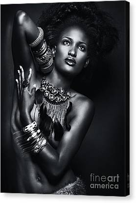 Beautiful African American Woman Wearing Jewelry Canvas Print