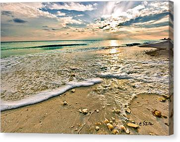 Beautiful Beach Blue Sea Sunset Canvas Print