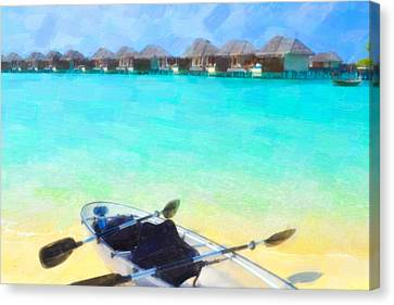 Beautiful Beach With Water Bungalows At Maldives Canvas Print by Lanjee Chee