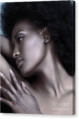 Beautiful Black Woman Face With Shiny Silver Skin Canvas Print