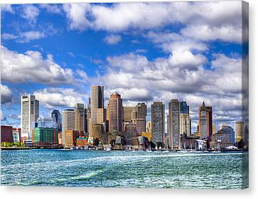 Beautiful Boston Skyline From The Harbor Canvas Print by Mark E Tisdale