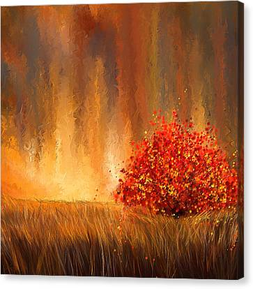 Red And Yellow Canvas Print - Beautiful Change- Autumn Impressionist by Lourry Legarde