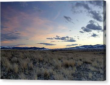 Beautiful Colors Of Sunset At The Reservoir Canvas Print by Dana Moyer