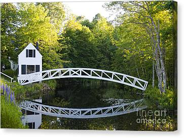 Beautiful Curved Bridge In Somesville Canvas Print by Bill Bachmann