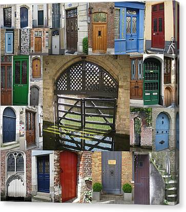 Beautiful Doors In London France And Belgium Canvas Print by Cathy Jacobs