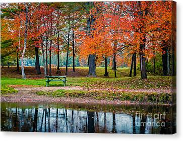 Picnic Table Canvas Print - Beautiful Fall Foliage In New Hampshire by Edward Fielding