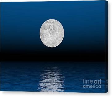 Sea Moon Full Moon Canvas Print - Beautiful Full Moon Against A Deep Blue by Elena Duvernay