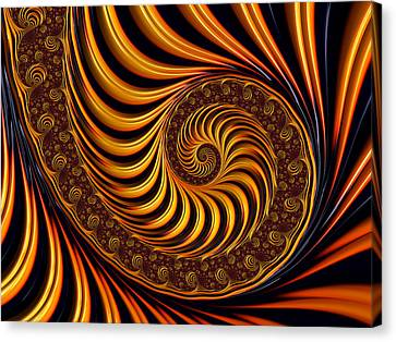 Modern Digital Art Canvas Print - Beautiful Golden Fractal Spiral Artwork  by Matthias Hauser