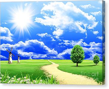 Beautiful Green Field Canvas Print by Boon Mee