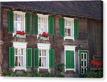 Beautiful House In Austria With Decoration Canvas Print by Tatyana Tomsickova