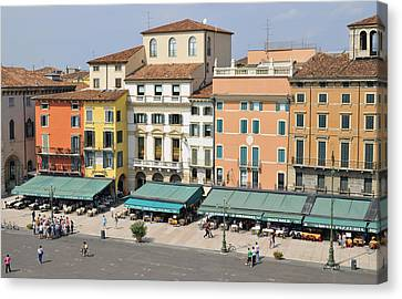 Beautiful Houses On Piazza Bra Verona Italy Canvas Print by Matthias Hauser
