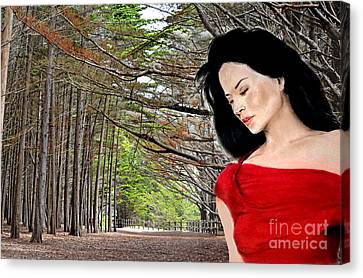 Beautiful Lucy Liu At The Entrance Of A Wooded Bluff  Canvas Print