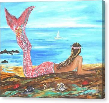 Beautiful Mermaid Canvas Print by Leslie Allen