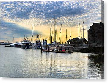 Beautiful Morning On Boston Waterfront Canvas Print by Mark E Tisdale