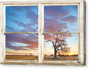 Beautiful Morning Rustic White Picture Window Frame View Canvas Print by James BO  Insogna