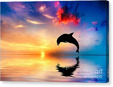 Beautiful Ocean And Sunset With Dolphin Jumping Canvas Print