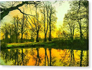 Beautiful Park Pond In Autumn At Sunset Canvas Print