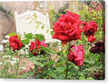 Beautiful Red English Roses With White Bench Canvas Print by Beverly Claire Kaiya