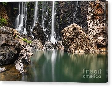 Falling Water Creek Canvas Print - Beautiful Satoddi Falls In Western Ghats India by Vishwanath Bhat