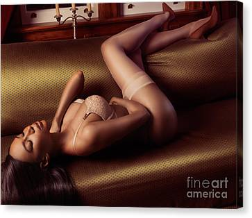 Beautiful Sexy Black Woman In Lingerie Lying On Couch Canvas Print by Oleksiy Maksymenko