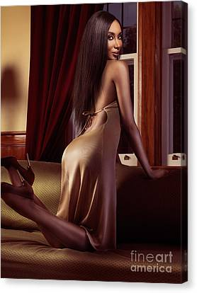 Beautiful Sexy Black Woman Near A Window Canvas Print by Oleksiy Maksymenko
