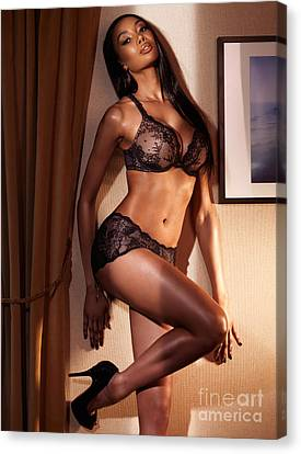 Beautiful Sexy Woman In Black Lingerie Canvas Print