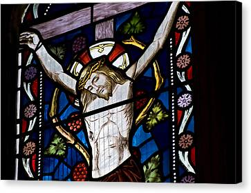 Beautiful Stained Glass Window Depicting Jesus On The Cross Canvas Print by Matthew Gibson