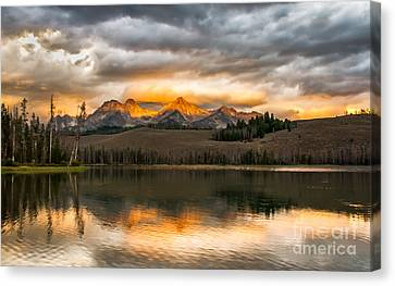 Haybale Canvas Print - Beautiful Sunrise On Little Redfish Lake by Robert Bales