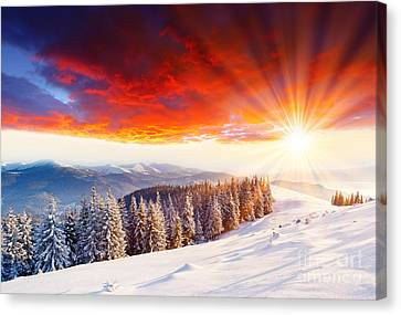 Beautiful Sunset In The Winter Canvas Print by Boon Mee