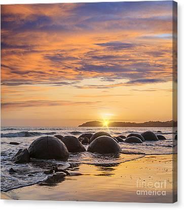 Beautiful Sunset Moeraki Boulders New Zealande New Zealand Otago Square Canvas Print by Colin and Linda McKie