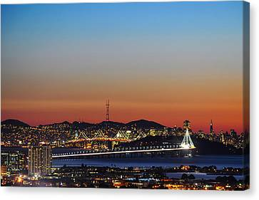 Beautiful Sunset Over The New Bay Bridge And San Francisco Canvas Print