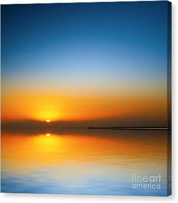 Beautiful Sunset Over Water Canvas Print