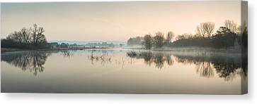 Beautiful Tranquil Mist Over Lake Sunrise Landscape Canvas Print by Matthew Gibson