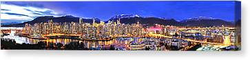 Vancouver At Night Canvas Print - Beautiful Vancouver Panorama by Wesley Allen Shaw