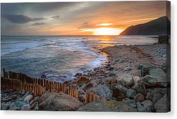 Beautiful Vibrant Sunrise Over Low Tide Beach Landscape Canvas Print by Matthew Gibson