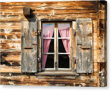 Beautiful Window Wooden Facade Of A Chalet In Switzerland Canvas Print by Matthias Hauser