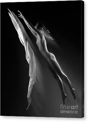 Beautiful Woman Flying Towards The Light Canvas Print by Oleksiy Maksymenko