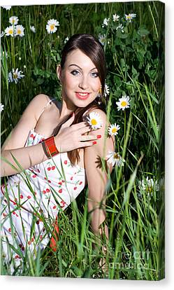 Beautiful Woman Sitting In Tall Grass And Daisies Canvas Print by Diana Jo Marmont