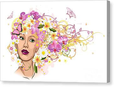 Beautiful Woman With Hair Made Of Flowers Canvas Print