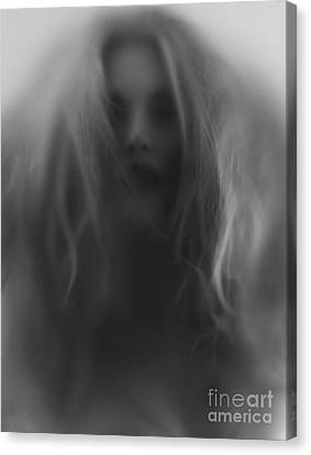 Beautiful Young Woman Face Behind Hazy Glass Canvas Print