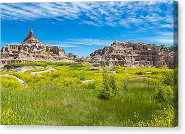 Canvas Print featuring the photograph Beauty And The Badlands by John M Bailey