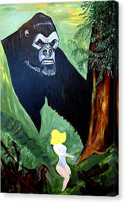 Canvas Print featuring the painting Beauty And The Beast by Nora Shepley