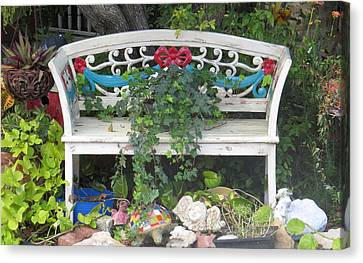 Canvas Print featuring the photograph Beauty And The Bench by Ella Kaye Dickey