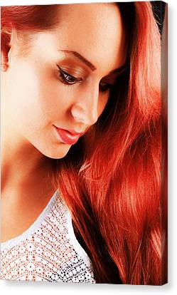 Beauty In Red Hair Canvas Print by T Monticello
