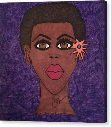 Canvas Print featuring the drawing Beauty Is In The Eyes by Chrissy  Pena