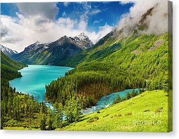 Beauty Mointain And Lake Canvas Print by Boon Mee
