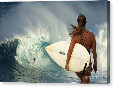 Surfer Girl Meets Jaws Canvas Print