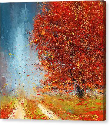 Beauty Of It- Autumn Impressionism Canvas Print by Lourry Legarde
