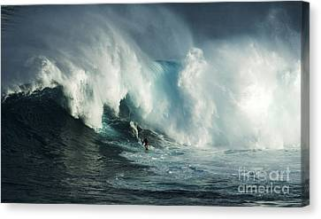 Beauty Of Surfing Jaws Maui 6 Canvas Print by Bob Christopher